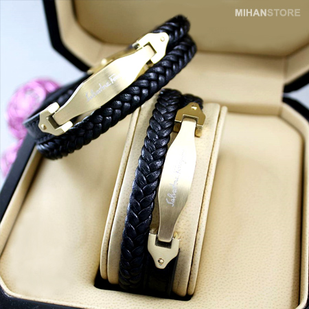 خرید و فروش دستبند چرم طرح لاکچری
