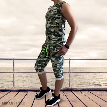 خرید پستی ست رکابی و شلوارک ارتشی Camouflage Men Wear