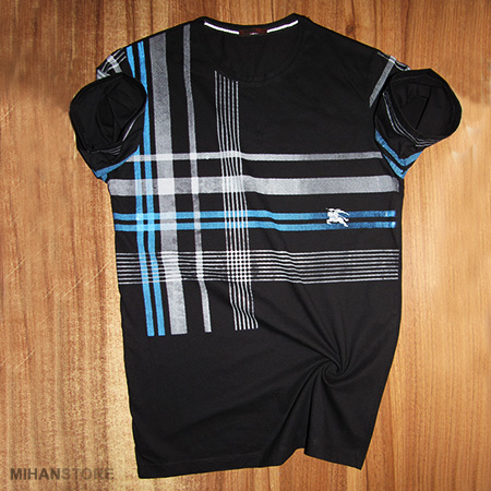 تی شرت مردانه و پسرانه باربری Burberry طرح اس تریپ Stripe جنس نخ  پنبه