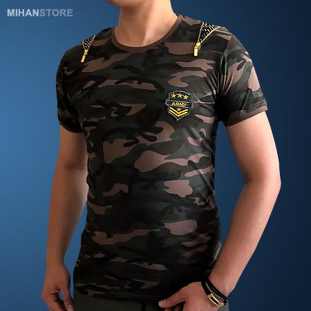 تی شرت مردانه و پسرانه ارتشی طرح Zipper