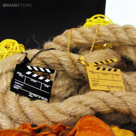 گردنبند لاکچری طرح کلاکت سینما رنگ مشکی و طلایی Clapperboard Necklaces