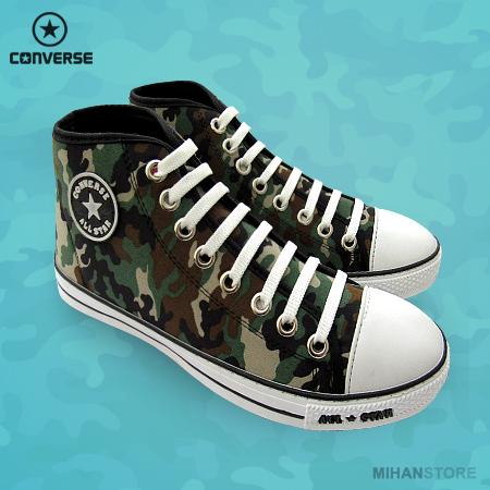 کفش مردانه آل استار طرح ارتشی All Star Camouflage Shoes