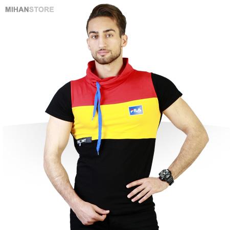 خرید پستی تی شرت شیک مردانه یقه شل طرح فیلا Fila
