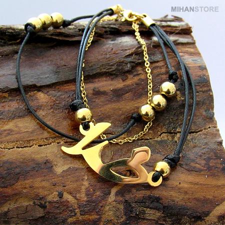 دستبند چرم و استیل طرح خدا GOD
