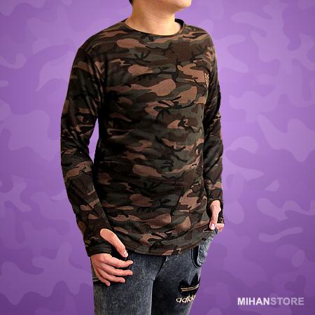 بلوز مردانه طرح ارتشی Men Camouflage Sleeve Shirts