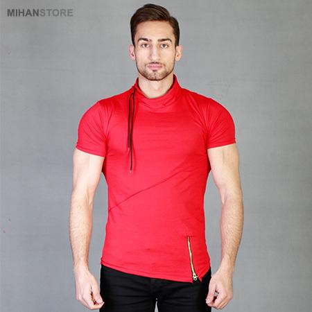 تی شرت یقه شل قرمز رنگ طرح بلاتا Blata