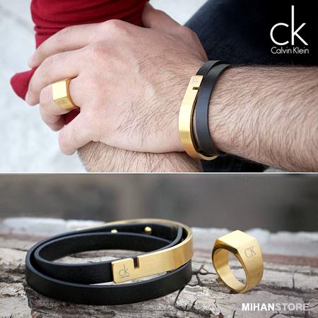 خرید دستبند چرم استیل Calvin Klein