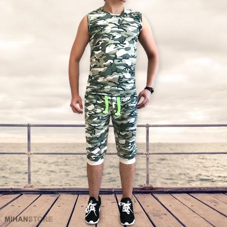 ست رکابی و شلوارک ارتشی Camouflage Men Wear