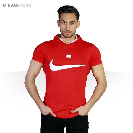 خرید پستی تی شرت کلاه دار نایک Nike طرح قرمز RED