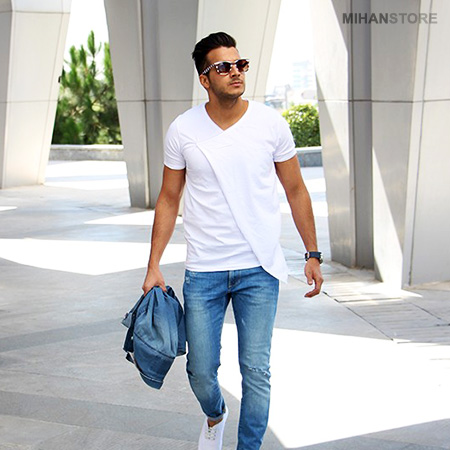 تی شرت لانگ Long مردانه مدل اسمیت Smith رنگ سفید