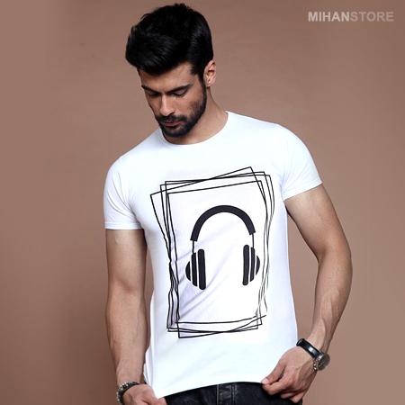 تی شرت مردانه طرح هدفون (سفید) Headphone