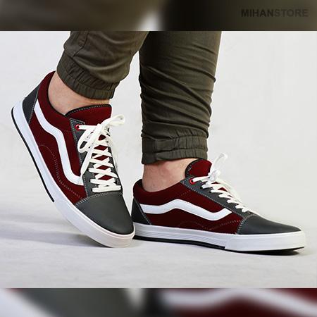 کفش مردانه و پسرانه ونس Vans طرح فلکسی Flexi به رنگ زرشکی