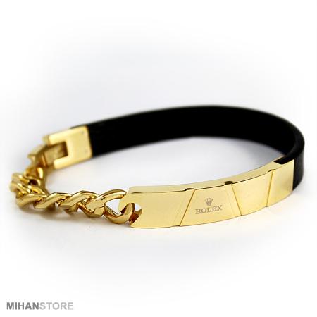 دستبند و اکسسوری چرم و استیل طرح رولکس Rolex
