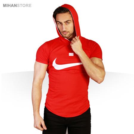تی شرت کلاه دار نایک Nike طرح قرمز Red