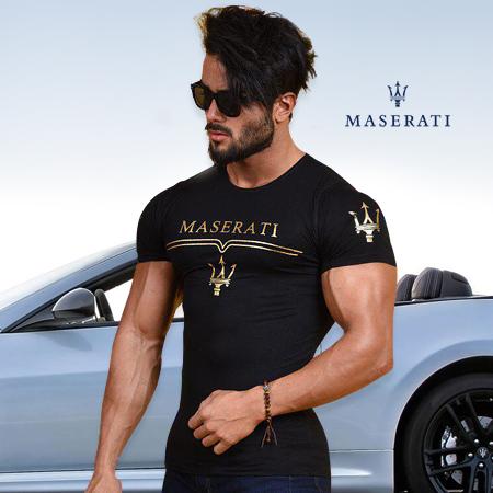 خرید پستی تی شرت مردانه طرح Maserati