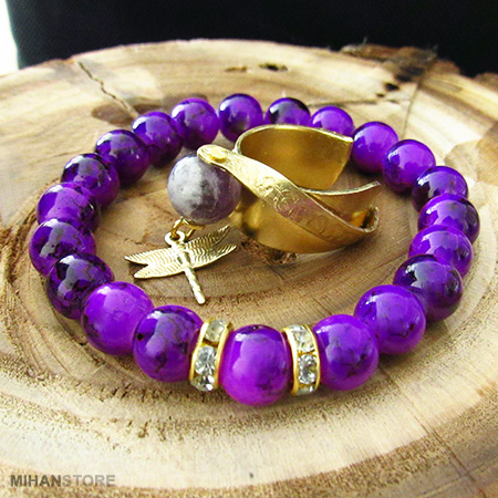 ست دستبند و انگشتر ویولت Violet