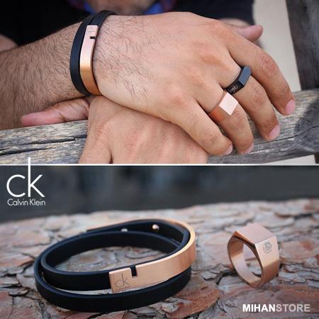دستبند چرم و استیل طرح CK Calvin Klein Steel & Leather Bracelets