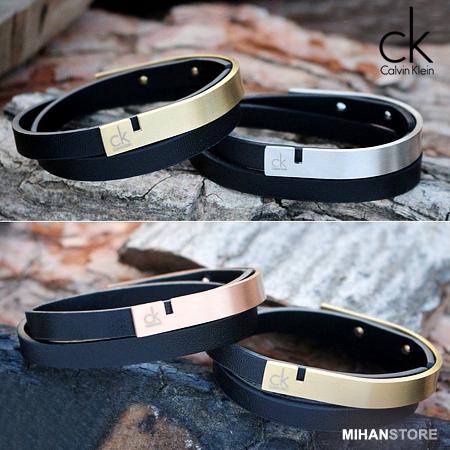 دستبند چرم و استیل طرح CK اصل